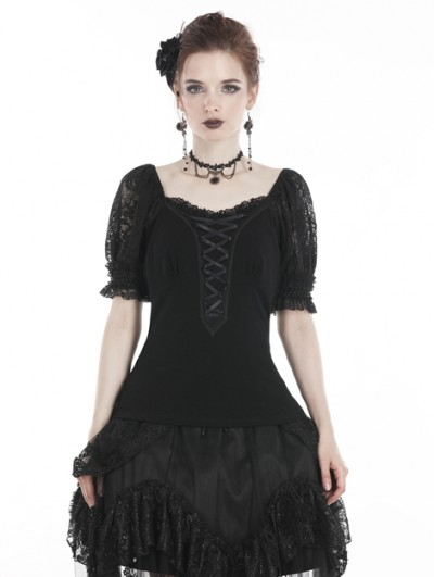 Dark in Love Black Sweet Gothic Lace Bubble Sleeves T-Shirt for Women