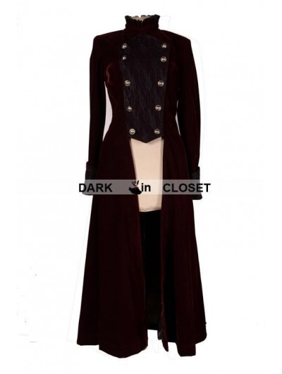 Pentagramme Wine Red Double Breasted Gothic Long Coat for Women