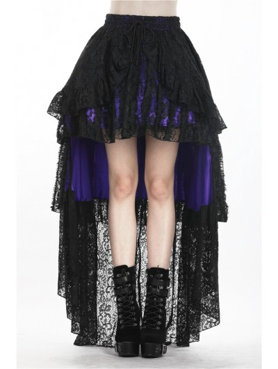 Dark in Love Black and Purple Gothic Lace High-Low Cocktail Skirt
