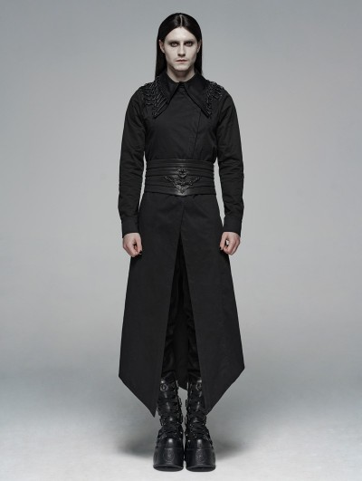 Punk Rave Black Gothic Dark Long Shirt Outfit for Men