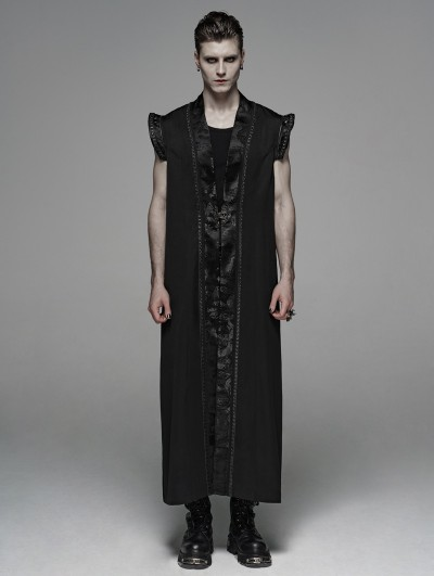 Punk Rave Black Vintage Gothic Chinese Style Long Waistcoat for Men