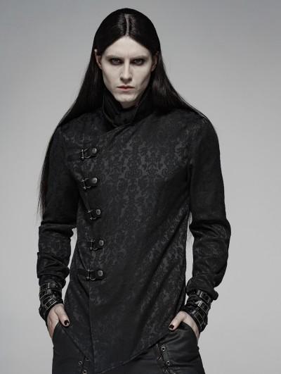 Punk Rave Black Vintage Gothic Dragon Satin Jacquard Shirt for Men