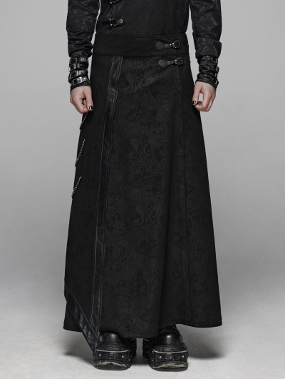 Punk Rave Black Retro Gothic Floral Long Overskirt for Men