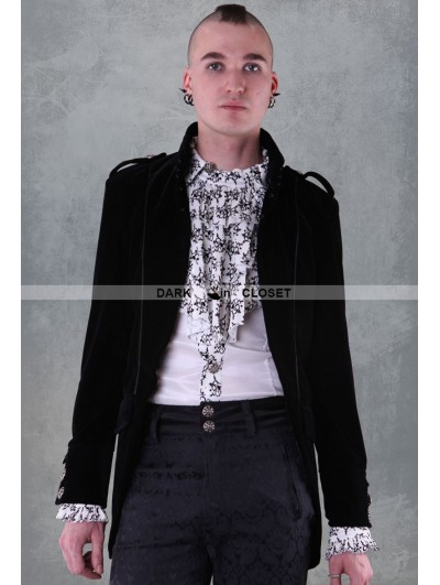 Pentagramme Black Long Sleeves Mens Gothic Coat