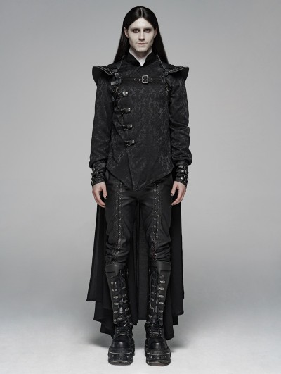 Punk Rave Black Gothic Punk Warrior Long Cloak for Men
