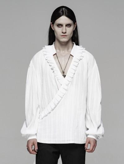 Punk Rave White Vintage Gothic Low-Cut Loose Shirt for Men