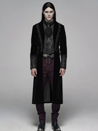 Punk Rave Black Retro Gothic Velvet Masquerade Ball Coat for Men