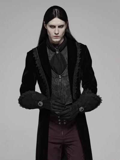 Punk Rave Black Gothic Victorian Luxuriant Nobility Gloves for Men