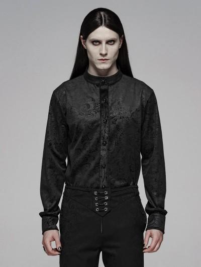 Punk Rave Black Retro Gothic Gentleman's Slim Shirt