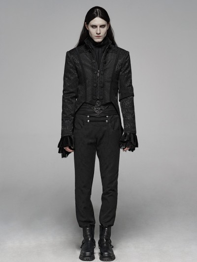 Punk Rave Black Gothic Victoria Dovetail Coat for Men