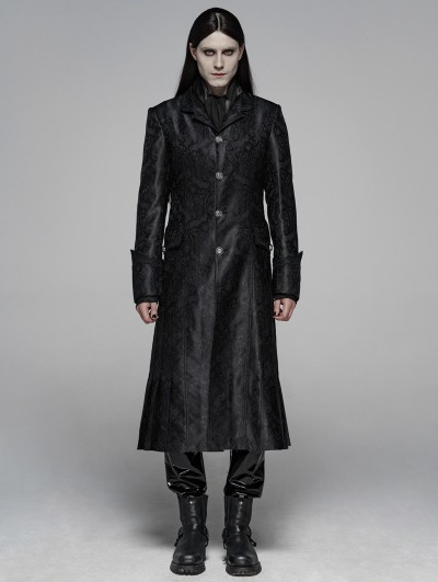 Punk Rave Black Gothic Victoria Jacquard Long Coat for Men