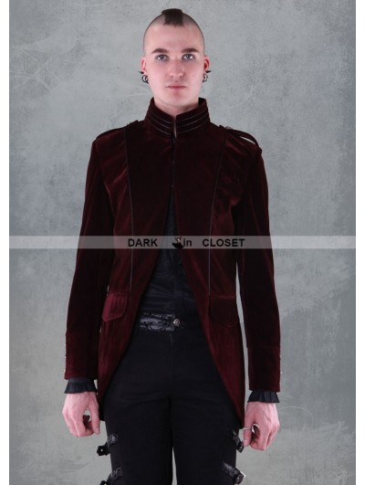 Pentagramme Wine Red Long Sleeves Mens Gothic Coat