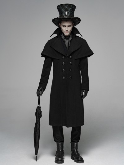 Punk Rave Black Gothic Dark Double-Breasted Long Coat for Men