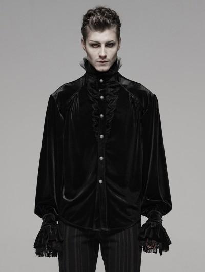 Punk Rave Black Retro Gothic Victorian Velvet Loose Shirt For Men