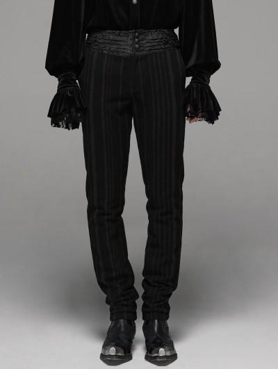 Punk Rave Black Retro Gothic Gentlemen's Stripe Pants
