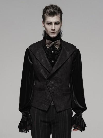 Punk Rave Black Retro Gothic Floral Short Waistcoat for Men