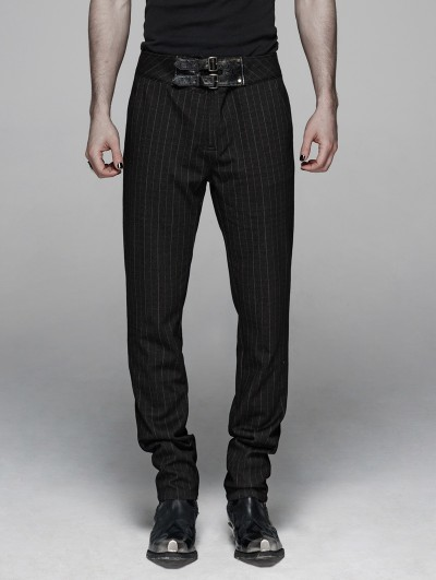 Punk Rave Black Gothic Gentleman Style Stripe Trousers