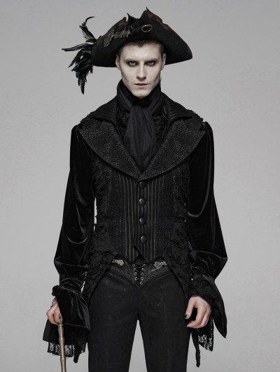 Punk Rave Black Gothic Decadent Asymmetric Masquerade Ball Vest for Men