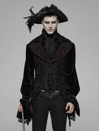 Punk Rave Red Gothic Decadent Asymmetric Masquerade Ball Vest for Men