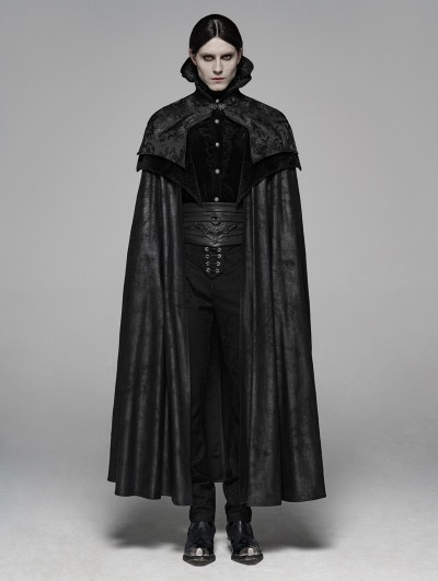 Punk Rave Black Noble Gothic Vampire Long Cloak for Men