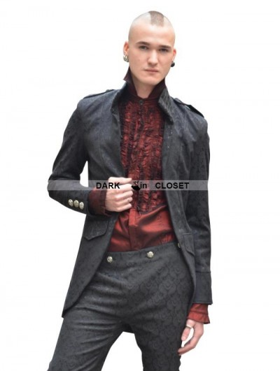 Pentagramme Black High Collar Printed Pattern Gothic Coat for Men