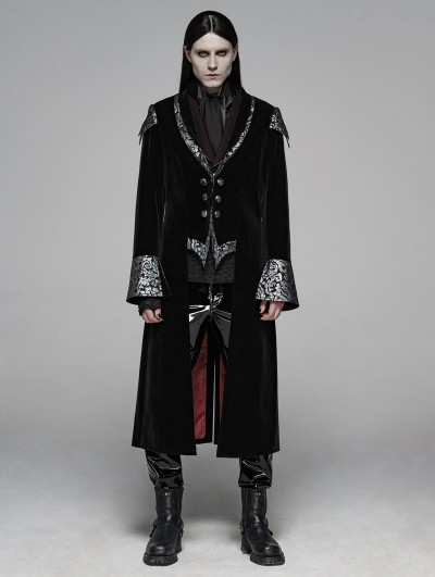 Punk Rave Black Gothic Masquerade Ball Long Coat for Men