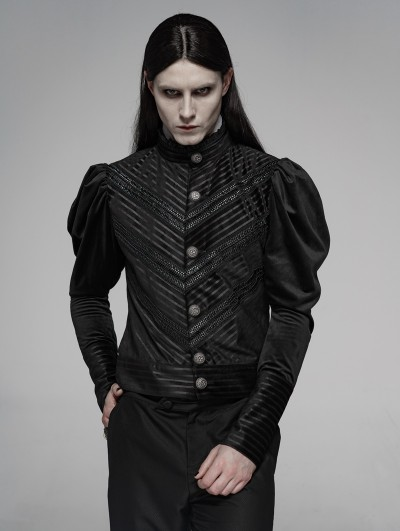 Punk Rave Black Vintage Gothic Striple Velvet Long Sleeve Shirt for Men