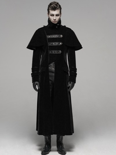 Punk Rave Black Gothic Military Uniform Long Cloak Coat for Men