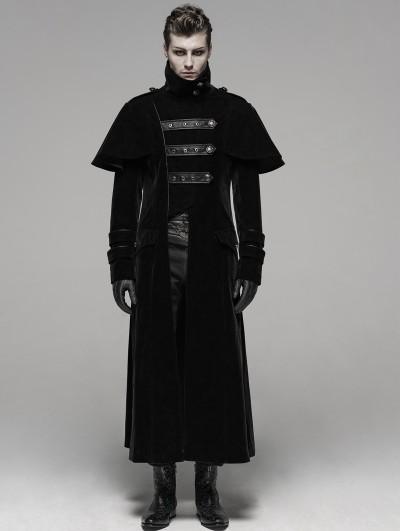 Punk Rave Black Gothic Military Uniform Long Cloak Coat for Men