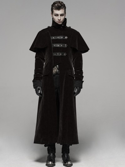 Punk Rave Coffee Gothic Military Uniform Long Cloak Coat for Men