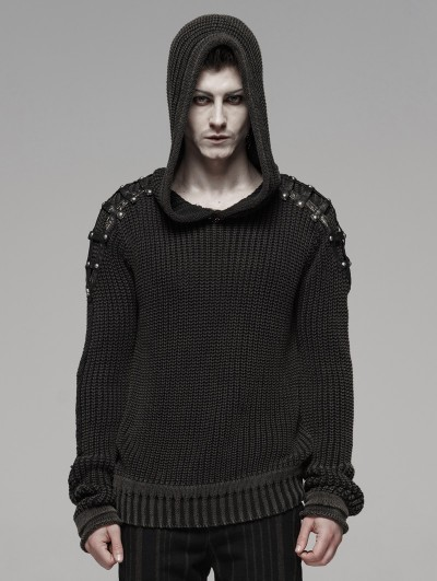 Punk Rave Black Gothic Punk Vintage Hooded Sweater for Men