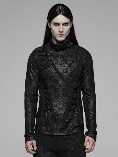 Punk Rave Black Dark Gothic Punk Turtleneck T-Shirt for Men