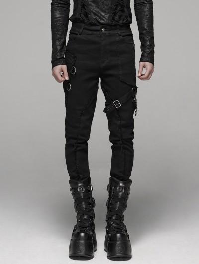 Punk Rave Black Gothic Punk Belt Chain Pants for Men
