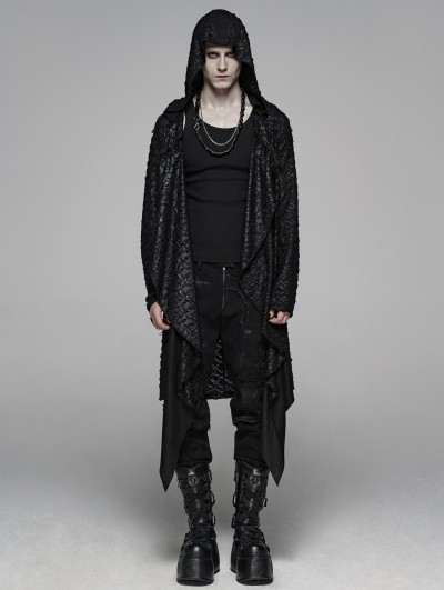 Punk Rave Black Vintage Gothic Punk Diablo Long Hooded Trench Coat for Men
