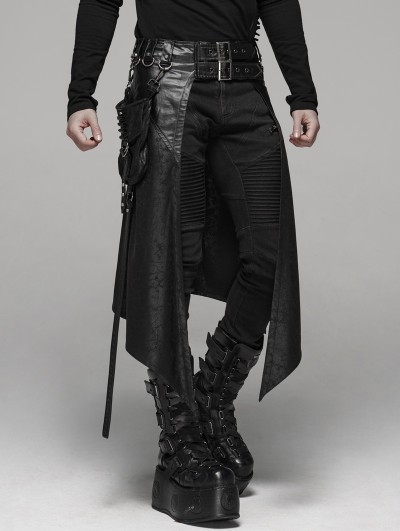 Punk Rave Black Gothic Punk Metal Pocket Men's Half Skirt