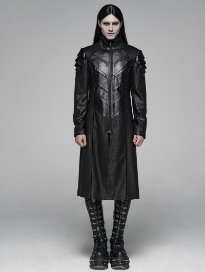 Punk Rave Black Gothic Punk Armor Long Jacket for Men