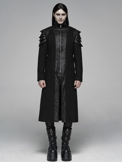 Punk Rave Black Gothic Punk Armor Long Coat for Men