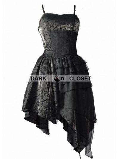 Pentagramme Spaghetti Straps Black Gothic Dress with Irregular Skirt