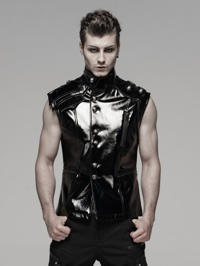 Punk Rave Black Gothic Military Bright Leather Waistcoat for Men