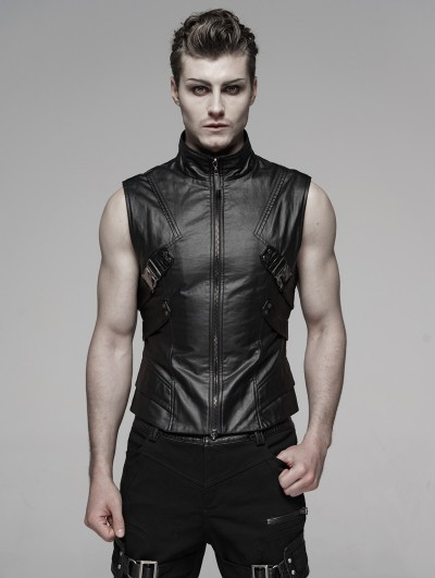 Punk Rave Black Gothic Punk Future Style Vest for Men