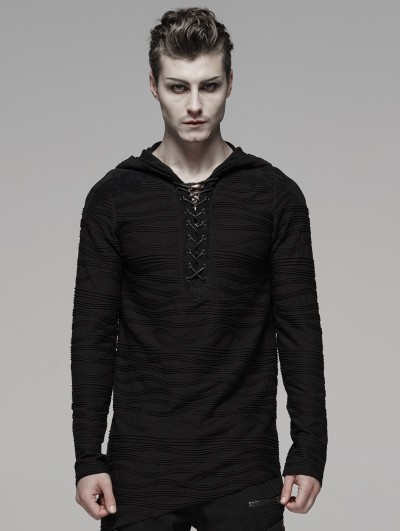 Punk Rave Black Gothic Dark Irregular Hoodie for Men