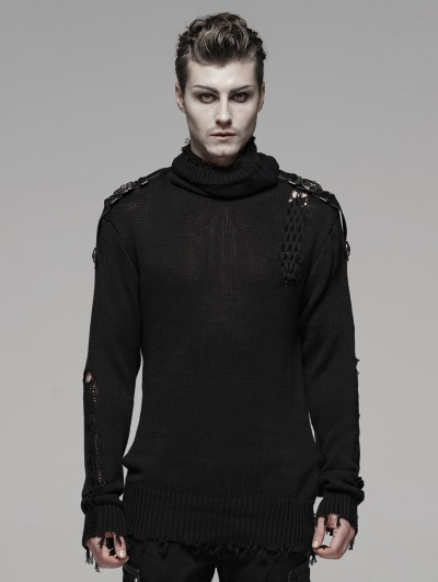 Punk Rave Black Gothic Uniform Sweater for Men