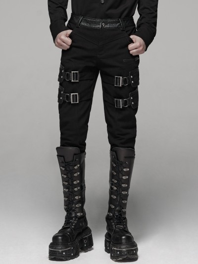 Punk Rave Black Gothic Punk Buckle Belt Handsome Stretch Trousers for Men