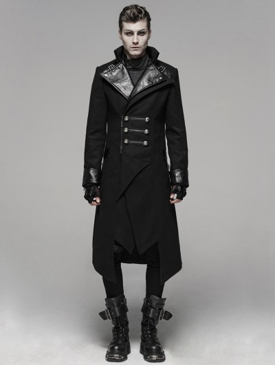 Punk Rave Black Gothic Punk Worsted Long Coat for Men
