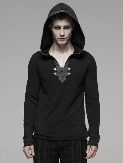 Punk Rave Black Gothic Punk Hoodie for Men