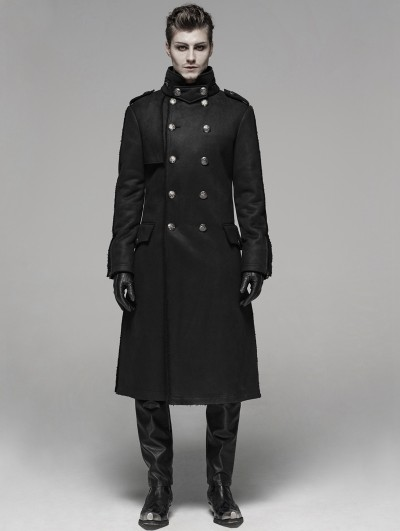 Punk Rave Black Gothic Military Style Long Thick Jacket for Men