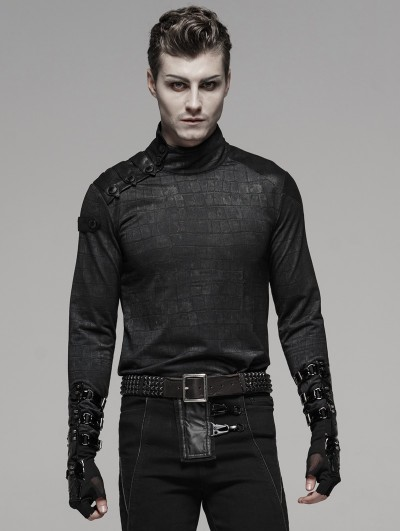 Punk Rave Black Gothic Punk PU Leather Gloves for Men
