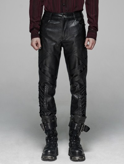 Punk Rave Black Gothic Punk Elastic PU Leather Pants for Men