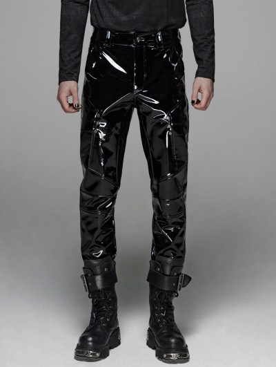 Punk Rave Black Gothic Military Bright Leather Pants for Men