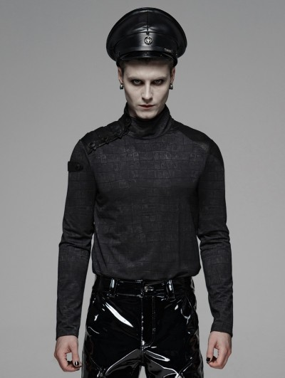 Punk Rave Black Gothic Military Style Long Sleeve T-Shirt for Men